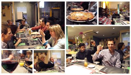 Mosaic représentant le diner, les participants, un verre de vin…